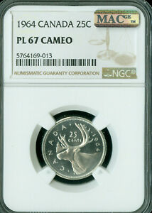 1964 CANADA 25 CENTS NGC PL67 CAMEO CAM 2ND FINEST GRADE MAC SPOTLESS ..