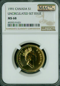 1991 CANADA LOON DOLLAR NGC MAC MS 68 2ND FINEST GRADED  ..