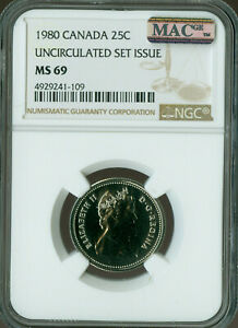1980 CANADA 25 CENTS NGC MAC MS69 PQ SOLO FINEST GRADE SPOTLESS   ..