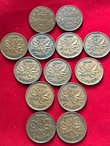 CANADA PENNY CENT 1930S AND 1940S LOT OF 13 COINS