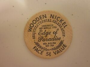 1964 WOODEN NICKEL COIN 5 CENTS   OHIO   EDGE OF PARADISE  BANK 5