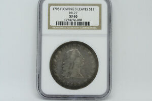 1795 FLOWING HAIR SILVER DOLLAR NGC EF40  XF40 . ORIGINAL 3 LEAVES. BB 27.