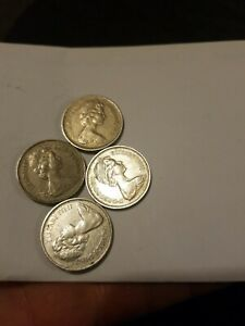 SET OF FOUR  5 NEW PENCE QUEEN ELIZABETH 11 COINS