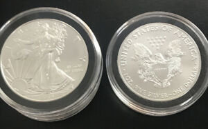 2019 $1 AMERICAN SILVER EAGLE BU ONE TROY OUNCE IN PLASTIC RING FLIP