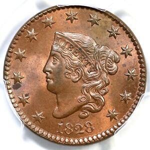 Click now to see the BUY IT NOW Price! 1828 N 11 R 2 PCGS MS 64 RB CAC MATRON OR CORONET HEAD LARGE CENT COIN 1C