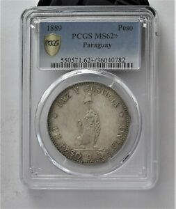 Click now to see the BUY IT NOW Price! 1889 PARAGUAY SILVER PESO UNC PCGS 62 CERTIFIED