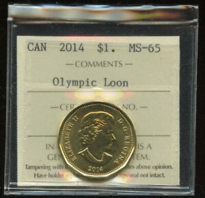 2014 CANADA OLYMPIC LOON DOLLAR COIN ICCS MS 65 LOONIE
