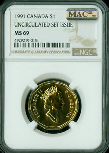 1991 CANADA LOON DOLLAR NGC MAC MS 69 FINEST GRADED  ..
