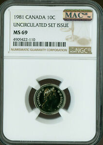 Click now to see the BUY IT NOW Price! 1981 CANADA 10 CENTS NGC MAC MS 69 PQ FINEST GRADE SPOTLESS POP 2 ..