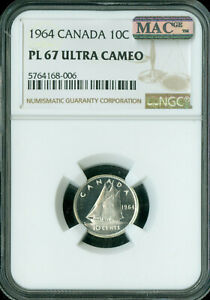 Click now to see the BUY IT NOW Price! 1964 CANADA 10 CENTS NGC MAC PL67 ULTRA CAMEO 1 FINER MAC SPOTLESS  ..