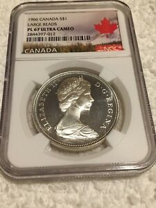 Click now to see the BUY IT NOW Price! 1966 SILVER CANADA DOLLAR $1 LARGE BEADS NGC PL 67ULTRA CAMEO POP 4 NONE HIGHER