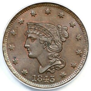 Click now to see the BUY IT NOW Price! 1843 N 4 PCGS MS 65 BN BRAIDED HAIR LARGE CENT COIN 1C