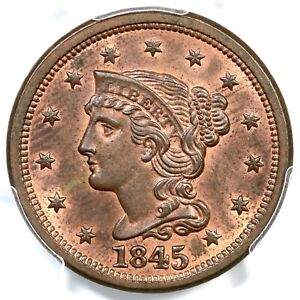Click now to see the BUY IT NOW Price! 1845 N 9 R 2 PCGS MS 64 RB BRAIDED HAIR LARGE CENT COIN 1C