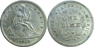 1838 NO DRAPERY SMALL STARS 10C SEATED LIBERTY DIME ALMOST UNCIRCULATED