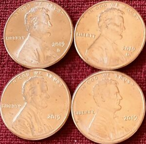 2019 P/D BU LINCOLN SHIELD CENTS FROM OBW   LOT OF 4 2 OF EACH.