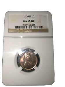 1929  D LINCOLN CENT NGC MS65 RB