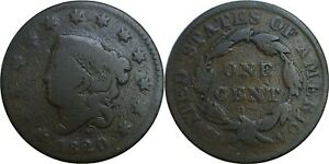 1820 1C CORONET MATRON HEAD LARGE CENT SMALL DATE ABOUT GOOD