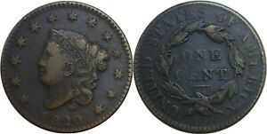 1820 1C CORONET MATRON HEAD LARGE CENT SMALL DATE GOOD DETAILS