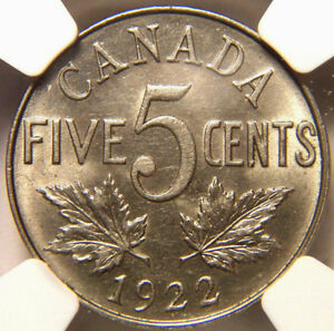 1922 CANADA 5 CENTS MS 62 NGC NICE LUSTER