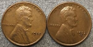 1932 P 1932 D  LINCOLN WHEAT CENTS   BETTER GRADE   FREE SHIP. B734