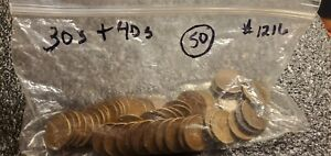 1 ROLL  50  WHEAT PENNIES    1930'S   40'S MIXED DATES AND MINTS