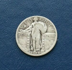 1928 SILVER LIBERTY STANDING QUARTER    VERY GOOD DETAILS