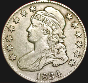 1834 CAPPED BUST HALF DOLLAR  XF/AU LARGE DATE LARGE LETTER