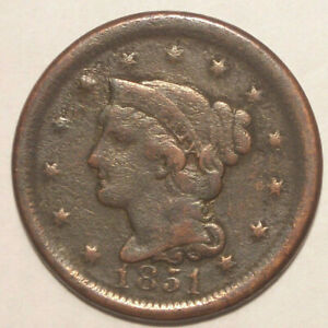 1851 LARGE CENT   CIRCULATED CONDITION
