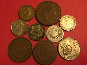 9 COINS MEXICO  3 SILVER  1858 TO 1967 1 REAL TO 50 CENTAVO L 609