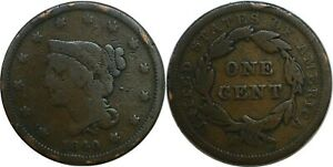 1840 1C BRAIDED HAIR LARGE CENT SMALL DATE GOOD