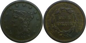 1840 1C BRAIDED HAIR LARGE CENT SMALL DATE FINE DETAILS