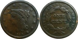 1840 1C BRAIDED HAIR LARGE CENT LARGE DATE GOOD