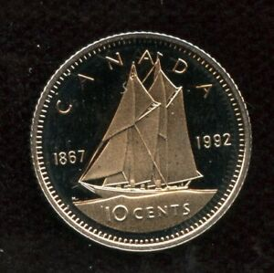 1867   1992 CANADA 10 CENTS PROOF DIME COIN   UHCAMEO