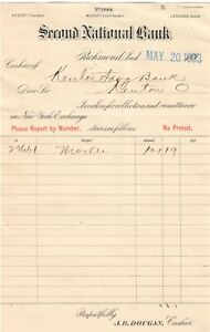 SECOND NAT'L BANK OF RICHMOND IN CH 1988 1893 CASHIER'S COLLECTION NOTE