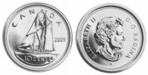 2005 P CANADA TEN CENT DIME UNC 10 CENT COIN FROM MINT ROLL