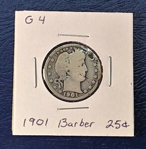 1901 BARBER QUARTER IN GOOD CONDITION   90  SILVER WITH DENT IN RIM