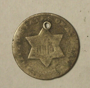 18?? THREE CENT SILVER  TRIME    CIRCULATED / HOLED