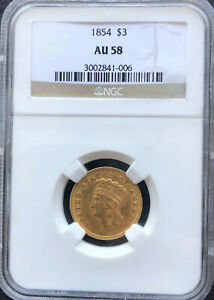 1854 GOLD $3 INDIAN PRINCESS HEAD. NGC AU58. GREAT LUSTER MARK FREE SURFACE.