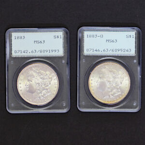 1883 P AND 1883 O 1 EACH MORGAN SILVER $1 PCGS MS63 OGH