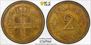 Click now to see the BUY IT NOW Price! ICELAND. 2 KRONUR 1940. PCGS SPECIMEN 64 GOLD SHIELD.