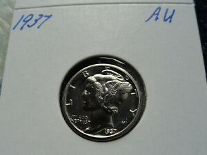 1937 MERCURY DIME 9099  ALMOST UNCIRCULATED COIN