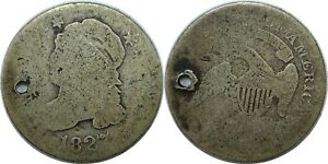 1827 10C CAPPED BUST SILVER DIME FAIR HOLED FILLER