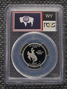 Click now to see the BUY IT NOW Price! 2007 S WYOMING SILVER STATE FLAG LABEL QUARTER PROOF PCGS PR70DCAM DEEP CAMEO 25