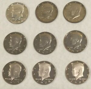Click now to see the BUY IT NOW Price! 1970 1979 S KENNEDY HALF DOLLAR GEM PROOF 9 COIN CLAD   SILVER PROOF SET TONED