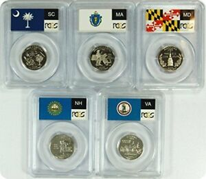 Click now to see the BUY IT NOW Price! 2000 SILVER STATE FLAG 5 COIN  NH MD MA VA SC  PROOF SET PCGS PR70 DCAM QUARTERS