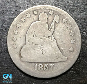 1857 P SEATED LIBERTY QUARTER      MAKE US AN OFFER   B3718