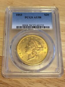 1853 AU58 PCGS LIBERTY DOUBLE EAGLE TYPE 1 $20 GOLD COIN NICE ALMOST MS
