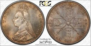 Click now to see the BUY IT NOW Price! GREAT BRITAIN 1887 VICTORIA DOUBLE FLORIN. ARABIC 1. PCGS MS 64.