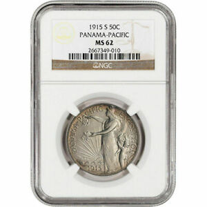 1915 S PANAMA PACIFIC 50C HALF DOLLAR USA UNITED STATES NGC MS62 SILVER