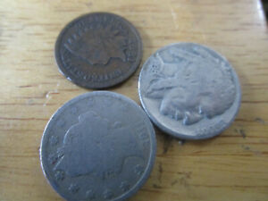 LOT OF INDAIN PENNY LIBERTY NICKEL AND BUFFALO NICKEL FILLERS FULL DATE BUFFALO